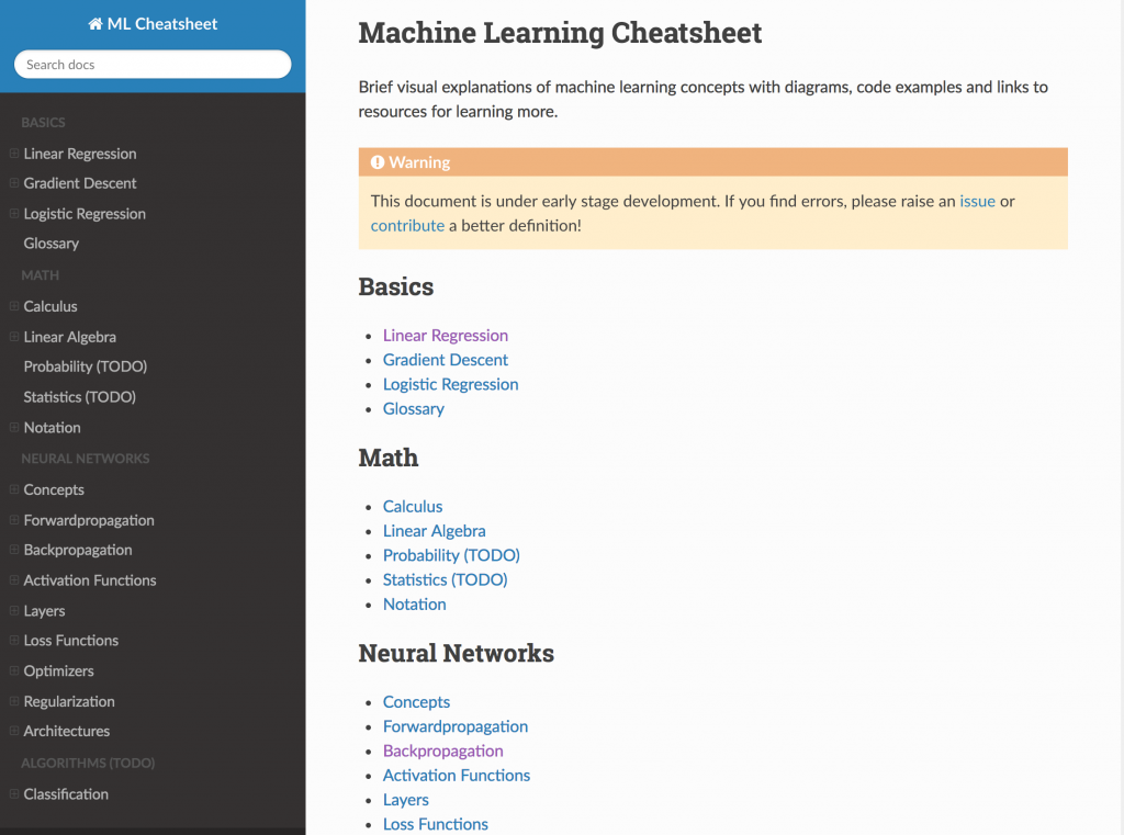 For Machine Learning Beginners: A Source for Core Concepts