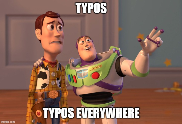 buzz lightyear and woody toy story meme about why typos are common and need data cleaning